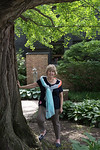 244. Suz in Courtyard of the Frank Lloyd Wright Home and Studio.